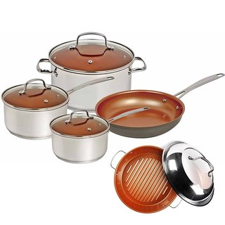 Nuwave Duralon Ceramic Non Stick 7 Piece Cookware with BBQ Grill Pan