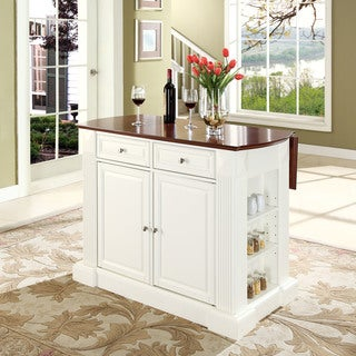 Coventry Drop Leaf Breakfast Bar Top Kitchen Island in White Finish