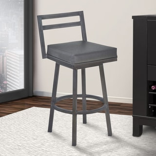 """Armen Living Moniq 30"""" Bar Height Metal Swivel Barstool in Vintage Gray Faux Leather and Mineral Finish"""