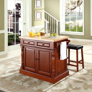 "Oxford Butcher Block Top Kitchen Island in Cherry Finish with 24"" Cherry Upholstered Saddle Stools"