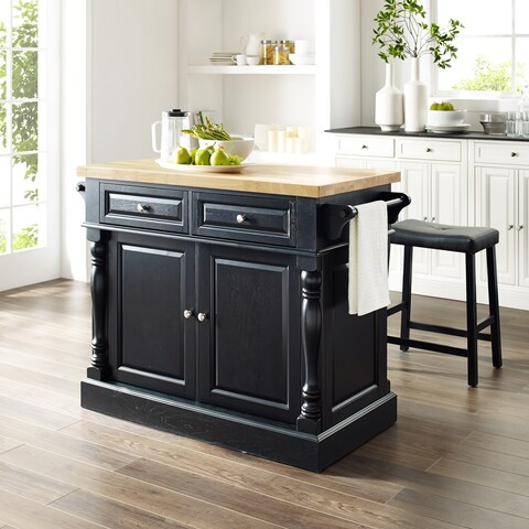 """Oxford Butcher Block Top Kitchen Island in Black Finish with 24"""" Black Upholstered Saddle Stools"""