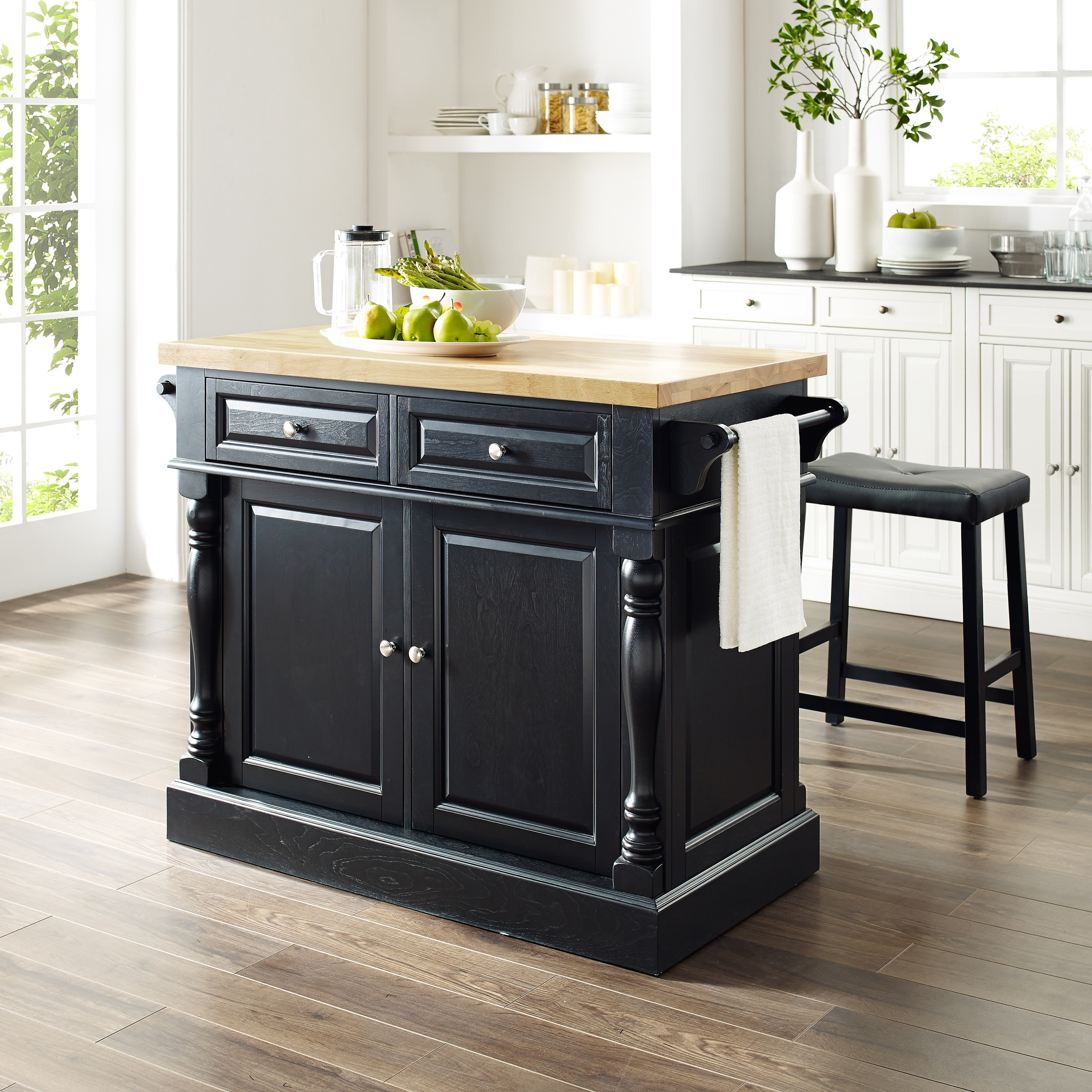 Oxford Butcher Block Top Kitchen Island in Black Finish with 24\