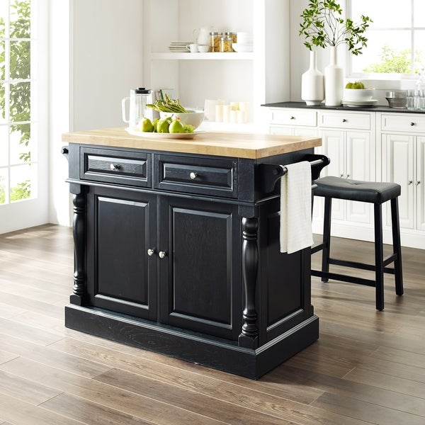 "Oxford Butcher Block Top Kitchen Island in Black Finish with 24"" Black Upholstered Saddle Stools"