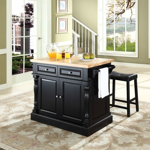 Shop oxford butcher block top kitchen island in black - Small butcher block island ...