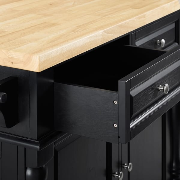 Shop Oxford Butcher Block Top Kitchen Island In Black Finish With 24 Black Upholstered Saddle Stools Overstock 16007500