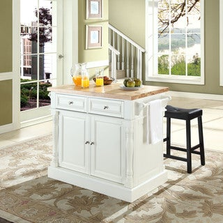 "Oxford Butcher Block Top Kitchen Island in White Finish with 24"" Black Upholstered Saddle Stools"