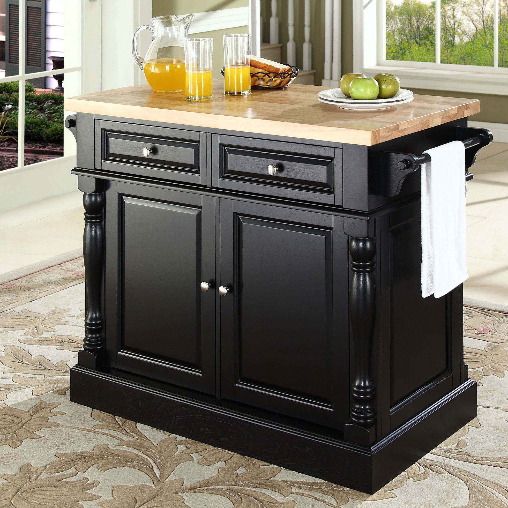 Kitchen Island With Butcher Block Top: Oxford Butcher Block Top Kitchen Island In Black Finish