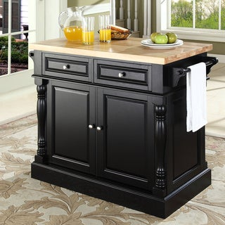 Oxford Butcher Block Top Kitchen Island in Black Finish