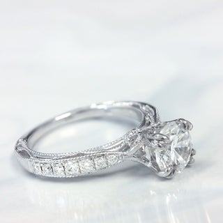 Lihara and Co. 18K White Gold 1/4ct TDW Semi-Mount Diamond Engagement Ring (G-H, VS1-VS2)