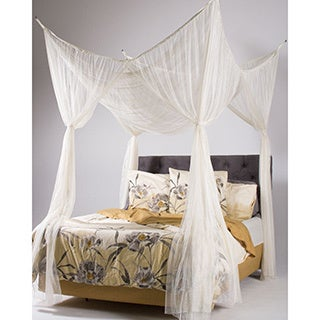 Woven Polyester Four-Point Bed Canopy (76'' x 84'' x 96'') (More options available)