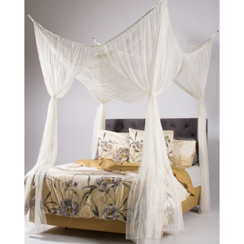 Woven Polyester Four-Point Bed Canopy (76'' x 84'' x 96'')