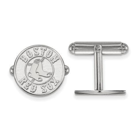 Sterling Silver Rhodium-plated Boston Red Sox Cuff Links by Versil