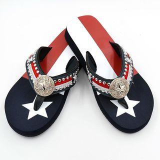 Isabella Women's Texas Star Texas Pride Faux Leather Flip Flops