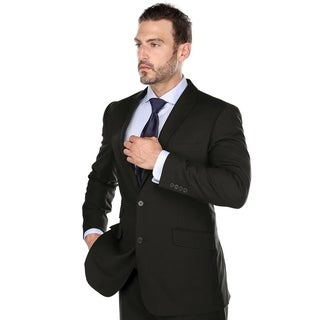 Verno Men' s Black Color Peak Lapel Classic Fit Two Piece Suit