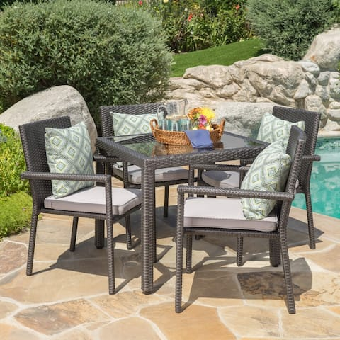 San Pico Outdoor 5-piece Wicker Square Dining Set with Cushions by Christopher Knight Home