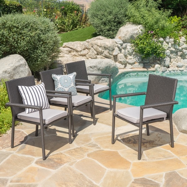 San Pico Outdoor Wicker Dining Chairs with Cushions (Set of 4) by Christopher Knight Home