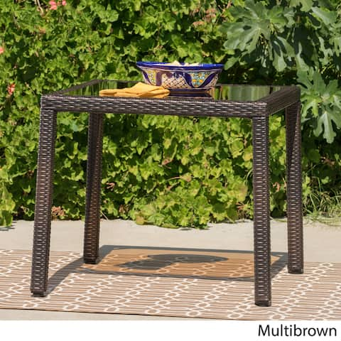 San Pico Outdoor Wicker Square Dining Table by Christopher Knight Home