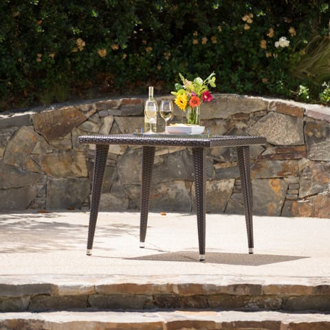 Armstrong Outdoor Aluminum Wicker 36-inch Square Dining Table by Christopher Knight Home