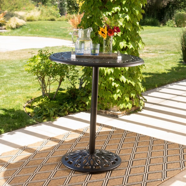 Hannah Outdoor Round Aluminum Bar Table With Umbrella Hole Only By Christopher Knight