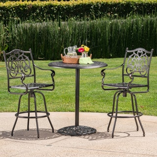 Hannah Outdoor 3-Piece Round Aluminum Bar Set with Umbrella Hole by Christopher Knight Home