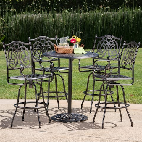 Hannah Outdoor 5-Piece Round Aluminum Bar Set with Umbrella Hole by Christopher Knight Home