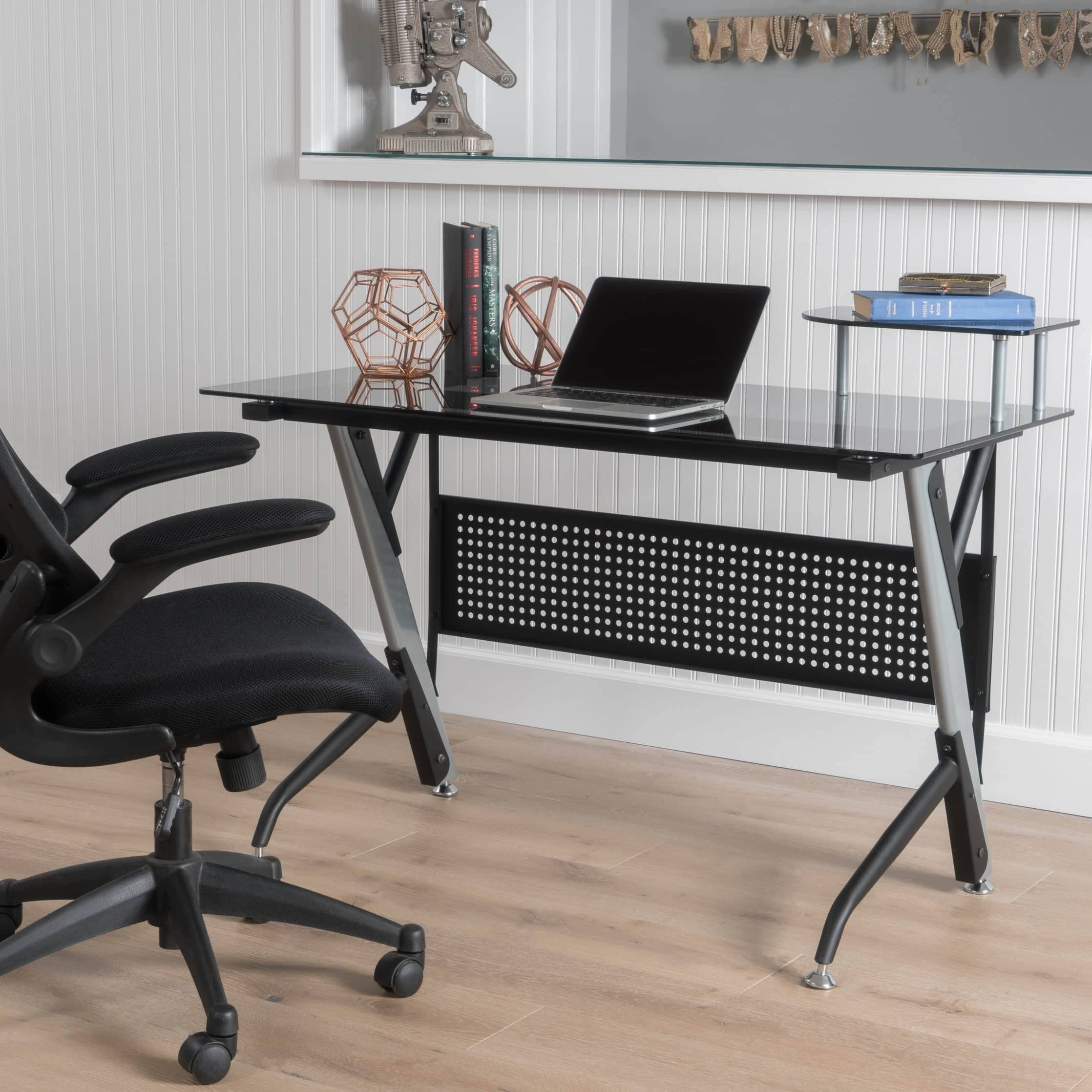 low priced df5b6 aef1c Valeta Tempered Glass Computer Desk by Christopher Knight Home