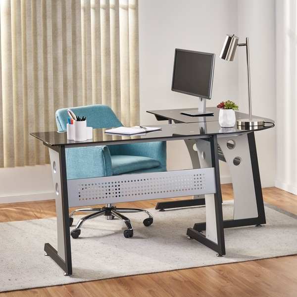 Oria L-Shape Tempered Glass Office Desk by Christopher Knight Home. Opens flyout.