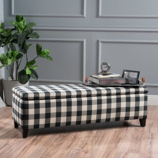 Cleo Checkerboard Pattern Fabric Storage Ottoman Bench by Christopher Knight Home