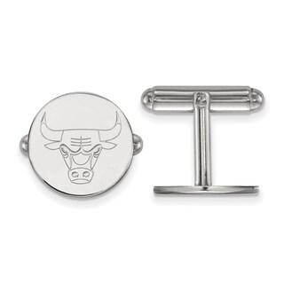 Versil Sterling Silver NBA LogoArt Chicago Bulls Cuff Link