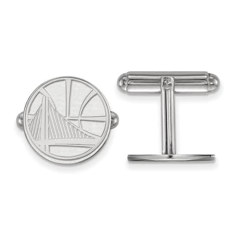 Versil Sterling Silver NBA LogoArt Golden State Warriors Cuff Link