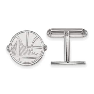 Sterling Silver NBA LogoArt Golden State Warriors Cuff Link|https://ak1.ostkcdn.com/images/products/16032947/P22423046.jpg?impolicy=medium