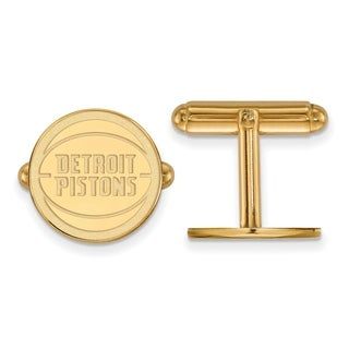 Sterling Silver With Gold Plating NBA LogoArt Detroit Pistons Cuff Link