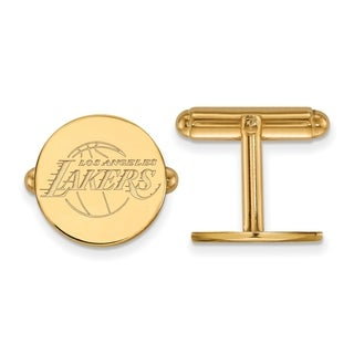 Sterling Silver With Gold Plating NBA LogoArt Los Angeles Lakers Cuff Link