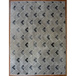 Nickel Grey Contemporary Area Rug (5'3 x 7'3)