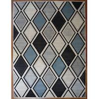 Diamond Multi Grey/Blue Contemporary Area Rug