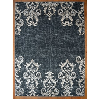 Kingston Black Contemporary/Transitional Area Rug (7'10x9'10)