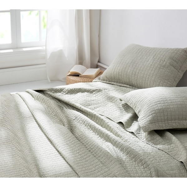 BYB Classic Supersoft Pre-Washed Cotton Quilt Set- Silver Birch