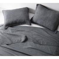 BYB Wrinkle Pewter Microfiber Stone-washed Quilt Set