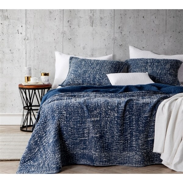 BYB Nightfall Navy Cotton Filter Stone Washed Quilt Set