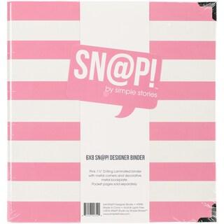"""Sn@p! Designer Binder 6""""X8""""-Pink Stripe"""