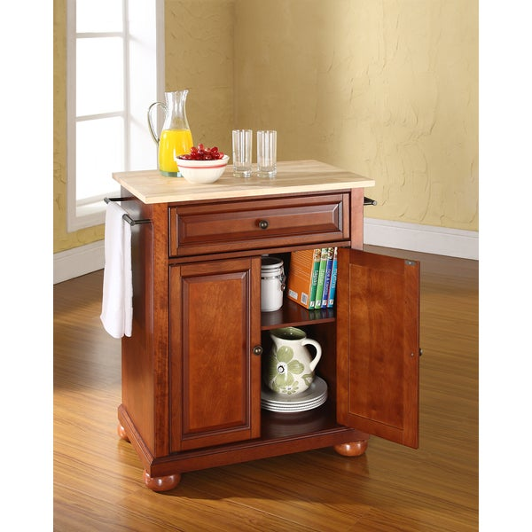 Alexandria Natural Wood Top Portable Kitchen Island In Clic Cherry Finish