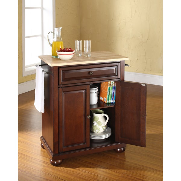 Furniture Natural Brown Movable Kitchen Island With: Shop Alexandria Natural Wood Top Portable Kitchen Island