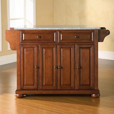 "Alexandria Solid Granite Top Kitchen Island in Classic Cherry Finish - 51.5 ""W x 18 ""D x 34 ""H"