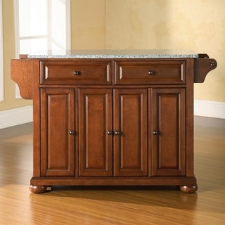 Alexandria Solid Granite Top Kitchen Island in Classic Cherry Finish - N/A