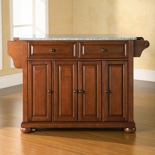 Alexandria Solid Granite Top Kitchen Island in Classic Cherry Finish