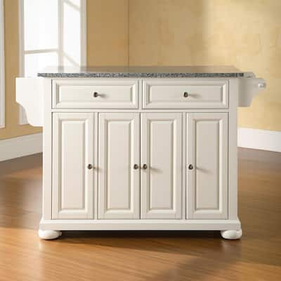 Alexandria Solid Granite Top Kitchen Island in White Finish - N/A