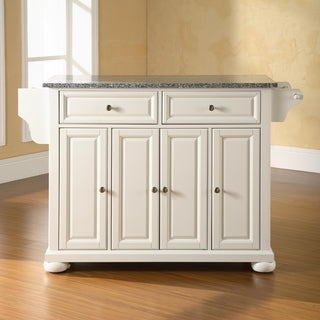 Alexandria Solid Granite Top Kitchen Island in White Finish - N/A