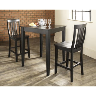 3 Piece Pub Dining Set with Tapered Leg and School House Stools in Black Finish