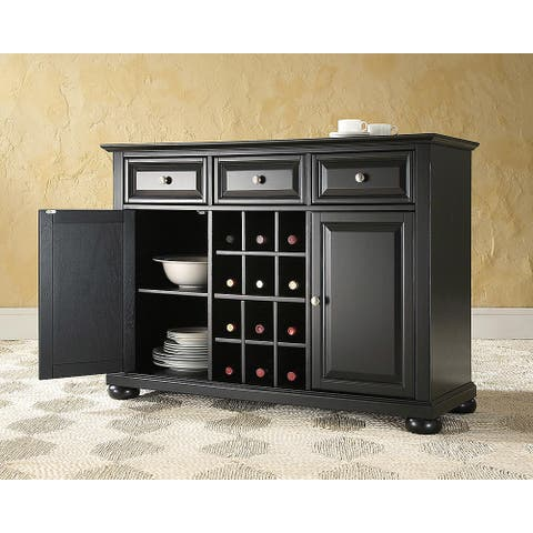 """Alexandria Buffet Server / Sideboard Cabinet with Wine Storage in Black Finish - 47.75 """"W x 18 """"D x 34 """"H"""
