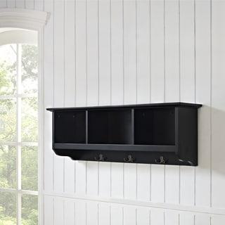 Brennan Entryway Black Wood Wall Mounted Storage Shelf